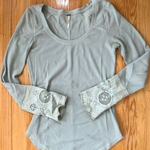 Free People 'Lovely Lady Cuff' thermal henley top